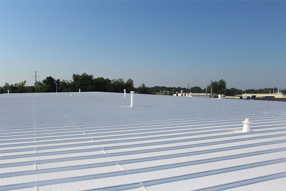 Silicone Roof Coating on Commercial Roof